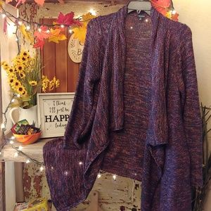 Torrid Cardigan with Purple and multi-color thread